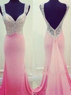 7def6e4449b9 Pink Long Mermaid Backless Prom Dresses