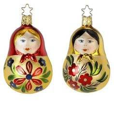 "Matroschka Lady Ornament - Assorted Russian doll ornament. Size: 3.5"" Inge-Glas of Germany Assorted ornaments, styles are very similar, ornament available will be shipped. **This"