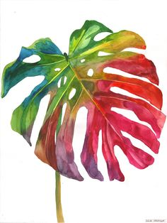 This is my original watercolor painting. Painted with watercolors on Fabriano Gamma Gamma paper ONLY ONE AVAILABLE. It will be carefu. Watercolor Leaves, Watercolour Painting, Botanical Illustration, Watercolor Illustration, Arte Sketchbook, Plant Painting, Tropical Art, Arte Floral, Leaf Art