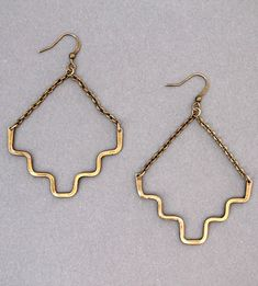 Minimalist Brass Earrings by Crow Jane Jewelry on Scoutmob Shoppe Heart Jewelry, Wire Jewelry, Gold Jewelry, Jewlery, Jewelry Accessories, Jewelry Design, Jewelry Ideas, Vintage Jewelry, Handmade Jewelry