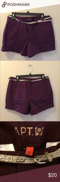 Apt.9 Women's High-Waisted Dress Shorts w/Belt Apt.9 / Size 10 / Maroon / NWOT (never worn). These cuffed, modern-fit shorts are perfect for any occasion; casual day-to-evening chic! Shimmery belt included. I bought these at the end of last summer and they don't fit me, but now it's too late to exchange for next size! :( BUT I hope to give these babies a new fabulous home. Cotton/spandex material adds stretch comfort while still providing a very flattering cut and slimming, firm fit! Apt. 9…