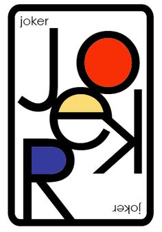 Mondrian Inspired Typography Playing Cards
