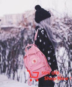 winter walk with her Kånken Classic in Pin Gs500, Chickens Backyard, Kanken Backpack, Abs, Boards, Classic, Stuff To Buy, Winter Walk, Pastel Goth