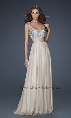 La Femme V Neck Beaded Chiffon Formal Gown - SimplyDresses