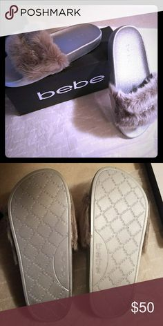 Original Bebe Slide Sandals Silver Size 6 Bebe Slide Sandals for sale! Silver in color! Very stylish and comfortable slippers. Original Bebe!!  Comes brand new in box and inner wrapping.  Size 6  Message me with any questions! Bebe Shoes Sandals