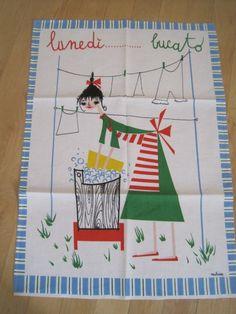 Vintage MILVIA Italian Towel Wash Day by NeatoKeen on Etsy