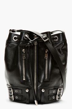 $2154.11 Saint Laurent Black Medium Biker Bucket Bag