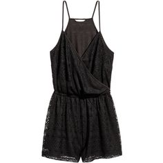 H&M+ Lace Jumpsuit $34.99 ($35) ❤ liked on Polyvore featuring jumpsuits, short jumpsuits, jump suit, lace jumpsuit, sleeveless jumpsuits and h&m jumpsuit