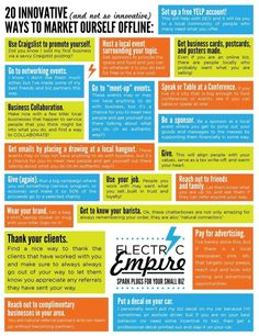 20 Innovative (and Not-So-Innovative) Offline Marketing Tips by Electric Empire Guerilla Marketing, Event Marketing, Small Business Marketing, Internet Marketing, Marketing And Advertising, Social Media Marketing, Marketing Strategies, Marketing Ideas, Business Video