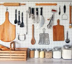 Organize your kitchen with a DIY pegboard. Build A Pegboard For A Clean Kitchen. Hang your utensils high by placing a pegboard on the wall, then attaching the different hooks. 30 Great DIY Organizing Ideas and Storage Hacks for Your Home. Kitchen Drawers, Kitchen Pantry, Kitchen Utensils, Kitchen Pegboard, Open Kitchen, Kitchen Ideas, Hidden Kitchen, Kitchen Small, Small Kitchens