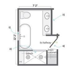 Tiny 5x6 Bathroom Floor Plan with 3 Foot Vanity Cabinet ...