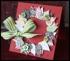 #punch art using 2 Step Bird Punch make a wreath  for stamped cards visit me at My Personal blog: http://stampingwithbibiana.blogspot.com/