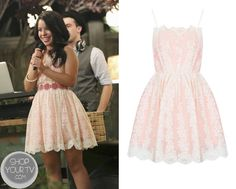 Mariana Foster (Cierra Ramierz) wears this pink lace dress to the wedding in this week's episode of The Fosters.    It is the Topshop Strappy Lace Dress. Buy it HERE for $110 $17 (Discounted Heavily!!)