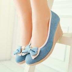 Korean bow canvas shoes