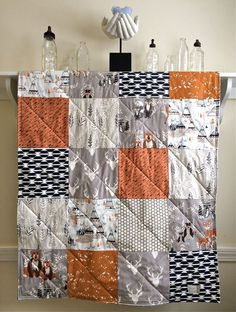 Baby Quilt Hello Bear Rust Modern Baby Quilt by FernLeslieBaby
