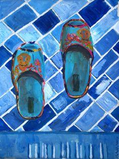 #art , #acrylic , #slippers , #blue , #still_life