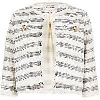 Cream stripe fitted boxy boucle jacket