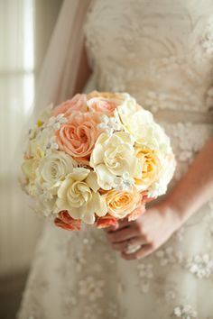 Coral, white and ivory rose wedding bouquet, photo by Paul Morse Photography