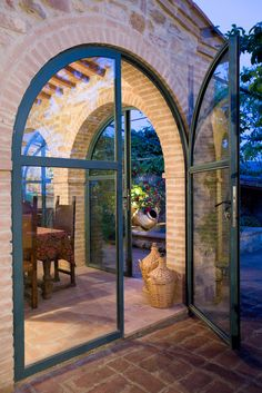 《 windows & doors 》 Arch, glass, brick, al fresco Organize Home Basics What do you expect out of an Glass Brick, Brick And Stone, Metal Building Homes, Building A House, Glass Balcony, Brick Arch, Arched Doors, Barn House Plans, Barn Plans