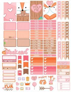 Items similar to Printable Planner Stickers Fox Valentine Love Heart Glam Planning Vertical February Cute Romantic Woodland Animal FoxyFor Erin Condren on Etsy To Do Planner, Cute Planner, Happy Planner, Planner Ideas, Pink Planner, Planer Organisation, Planner Decorating, Printable Planner Stickers, Personal Planners