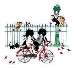 Jip en Janneke op de fiets. Two very Dutch things: Jip & Janneke and a bike :-)