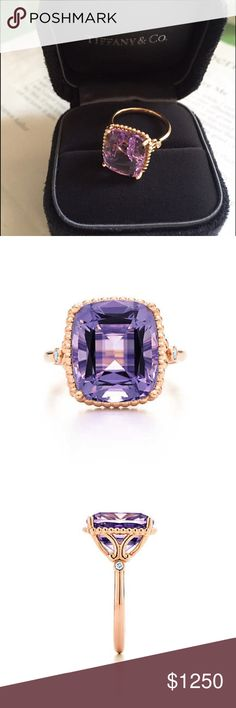 Tiffany's Sparklers Amethyst Ring 18k rose gold w cushion-cut amethyst and round diamonds. Lavender amethyst. Carat weight 5.70 diamonds, carat total weight .03. Like new condition, never worn. Tiffany & Co. Jewelry Rings