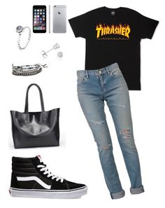 """""""⭐️"""" by dreairrational ❤ liked on Polyvore featuring Amanda Rose Collection, Yves Saint Laurent, Pandora and Vans"""