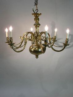 Traditional style brass, Dutch six light #chandelier  - available to hire (stock code - LIGC10008).    www.farley.co.uk Branch Chandelier, Chandeliers, Prop Hire, Clever Design, Antique Furniture, Dutch, Brass, Ceiling Lights, Traditional