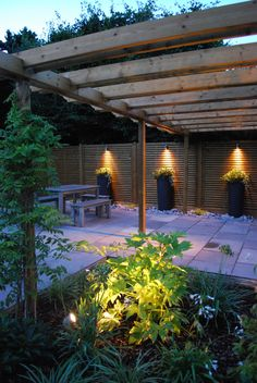 The Landscape Design Studio Ltd — Pictures of a recent terrace designed and. Pergola Lighting, Outdoor Lighting, Lighting Ideas, Terrace Design, Garden Design, Wood Fence Design, Pergola Canopy, Garden Oasis, Garden Architecture