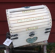 large wooden chest nautical beach wedding card money box