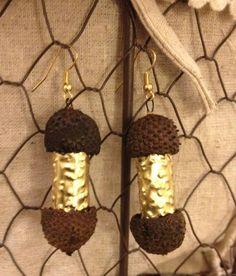 Oak nuts and brass earrings