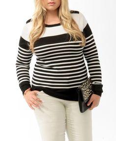 Buttoned Multi-Stripe Sweater | FOREVER21 - 2017307195