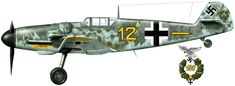 "Messerschmitt Bf 109G-6 ""Eismeer"" 6./JG 5 Oberleutenant Heinrich Ehler Petsamo, Finland, Summer 1943. On 18th August 1943 Ehler claimed double victory near Louchi when he flew this aircraft. Camouflage: RLM 74/75/76 with spots of RLM 02 on the fuselage sides. Artist: © Arkadiusz Wrobel"