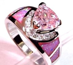 'Sz 7, 8, 9 Lab Fire Opal Pink Topaz Ring' is going up for auction at  9am Fri, May 3 with a starting bid of $5.