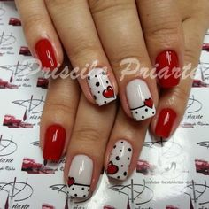 Having short nails is extremely practical. The problem is so many nail art and manicure designs that you'll find online Fancy Nails, Red Nails, Love Nails, Pretty Nails, Red And White Nails, Nail Art Designs, Fingernail Designs, Nails Design, Heart Nail Designs