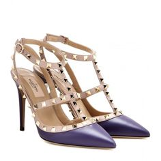 Valentino Rockstud Leather Pumps (14 010 UAH) ❤ liked on Polyvore featuring shoes, pumps, valentino, purple, leather footwear, purple pumps, valentino shoes, purple shoes and leather pumps