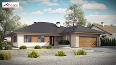 Dom w budowie Single Floor House Design, Small House Design, New House Plans, Home Design Plans, House Painting, Curb Appeal, Planer, Gazebo, New Homes