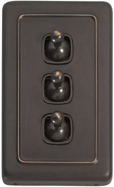 3 Gang Toggle Light Switch - Brown Toggle Base
