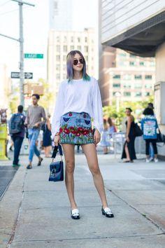 Irene Kim in a Gucci skirt