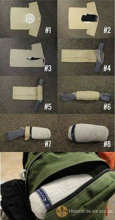 Great way to pack outfits when traveling. Thank you Boy Scouts! #LifeHacks