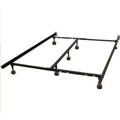 Hercules Universal Heavy Duty Adjustable Metal Bed Frame with Double Rail Center Bar and Rug Rollers, Queen/Twin/Twin X-Large/Full/Full X-Large/King/California King, Black > Discover this special deal, click the image : Furnitures for Home Decor Ikea Sofas, Steel Bed Frame, Adjustable Bed Frame, California King Mattress, Mattress Sets, E 7, Bed Rails, Black Bedding, Metal Beds