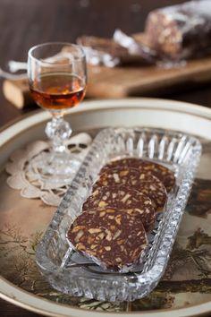 "Russian Monday: ""Shokoladnaya Kalbaska"" - Chocolate Biscuit ""Salami"" with Walnuts & Rum (no bake) at Cooking Melangery"