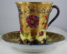 Gold Encrusted Porcelain | Nippon Porcelain Cobalt Gold Encrusted Floral 8 Mugs Cups 6 Saucers ...