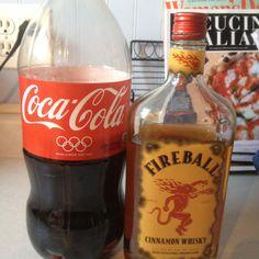 Fireball Whiskey and Coke! Fireball And Coke, Fireball Whiskey Drinks, Fireball Recipes, Whiskey Recipes, Acholic Drinks, Cocktail Drinks, Yummy Drinks, Beverages