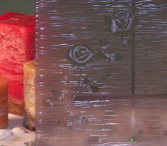 Grey Etched Rose Decorative Window Film