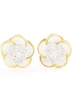 18K Multi Gold Diamond & Enamel Flower Earrings