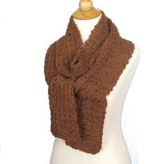 Chocolate Brown Knit Scarf Wrap in Soft Alpaca - Autumn Fashion
