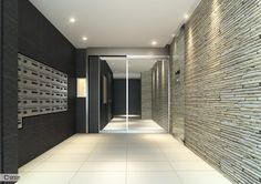 建築パースの制作実績:クラリスビジュアライズワークス合同会社 Office Entrance, Apartment Entrance, Entrance Hall, Condo Design, Apartment Design, Interior Design, Mail Room, Luxury Modern Homes, Gym Room