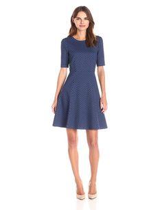 Lark & Ro Women's Elbow-Sleeve Textured Full Flare Dress at Amazon Women's Clothing store: