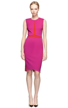 Magenta Stretch Suiting Dress by Narciso Rodriguez Now Available on Moda Operandi